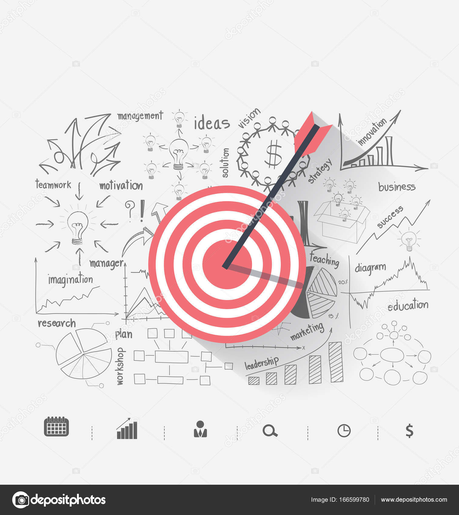 1514x1700 Business Target Marketing Dart Idea On Creative Thinking Drawing