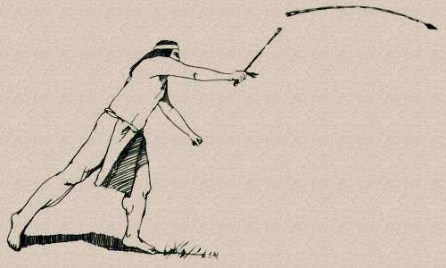 500x300 Drawing Of A Primitive Man Throwing A Dart With An Atlatl