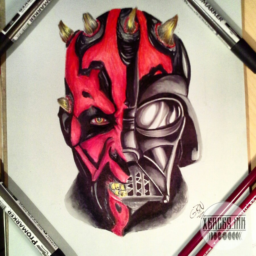 900x900 Darth Vader Amp Darth Maul Mashup Drawing