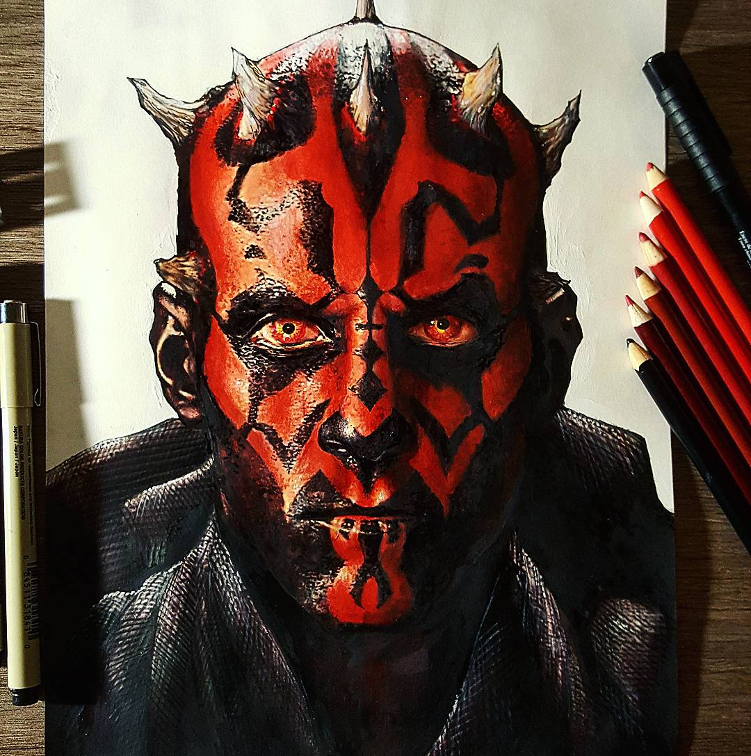 1080x1087 Here's My Drawing Of Darth Maul, 9x12. Hope You Like It! Starwars