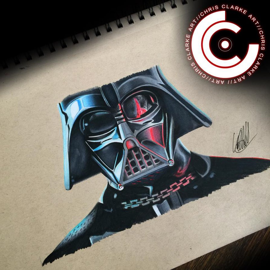 894x894 Darth Vader Drawing By Clarke Art