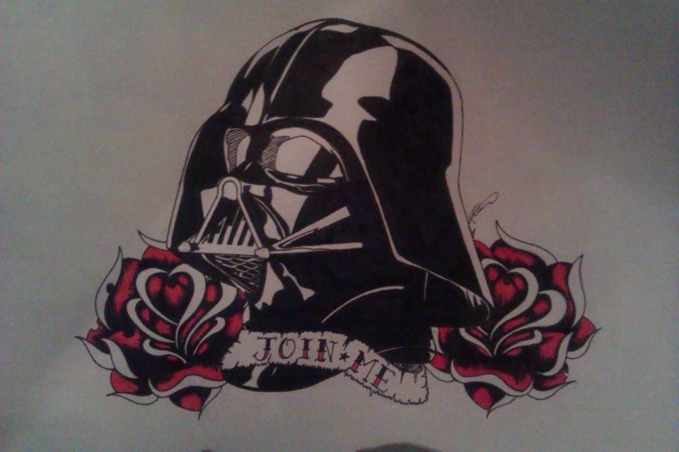 960x639 Rose Flowers And Darth Vader Mask Tattoo Design By B4rbiegh0ul