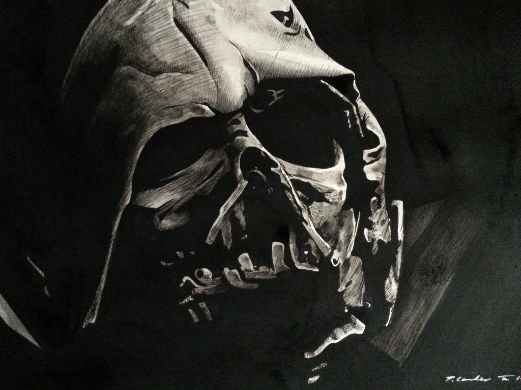 1024x768 The Force Awakens Star Wars Darth Vader Mask Art By Billyboyuk