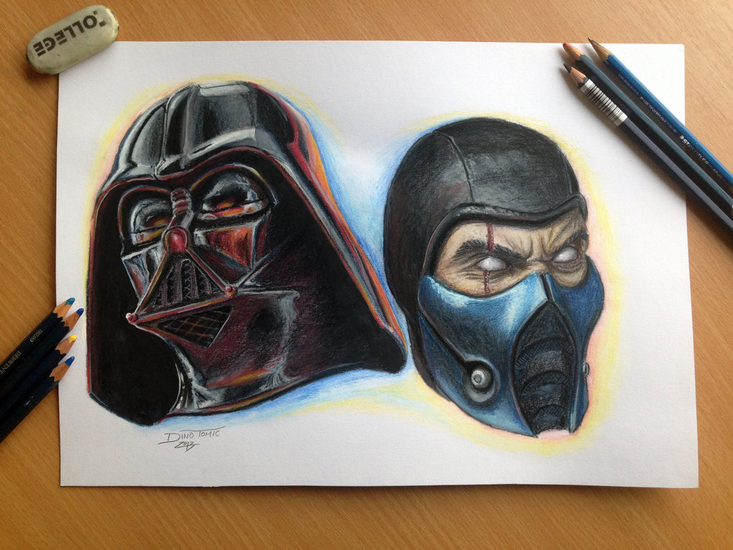 1032x774 Color Pencil Drawing Of Darth Vader