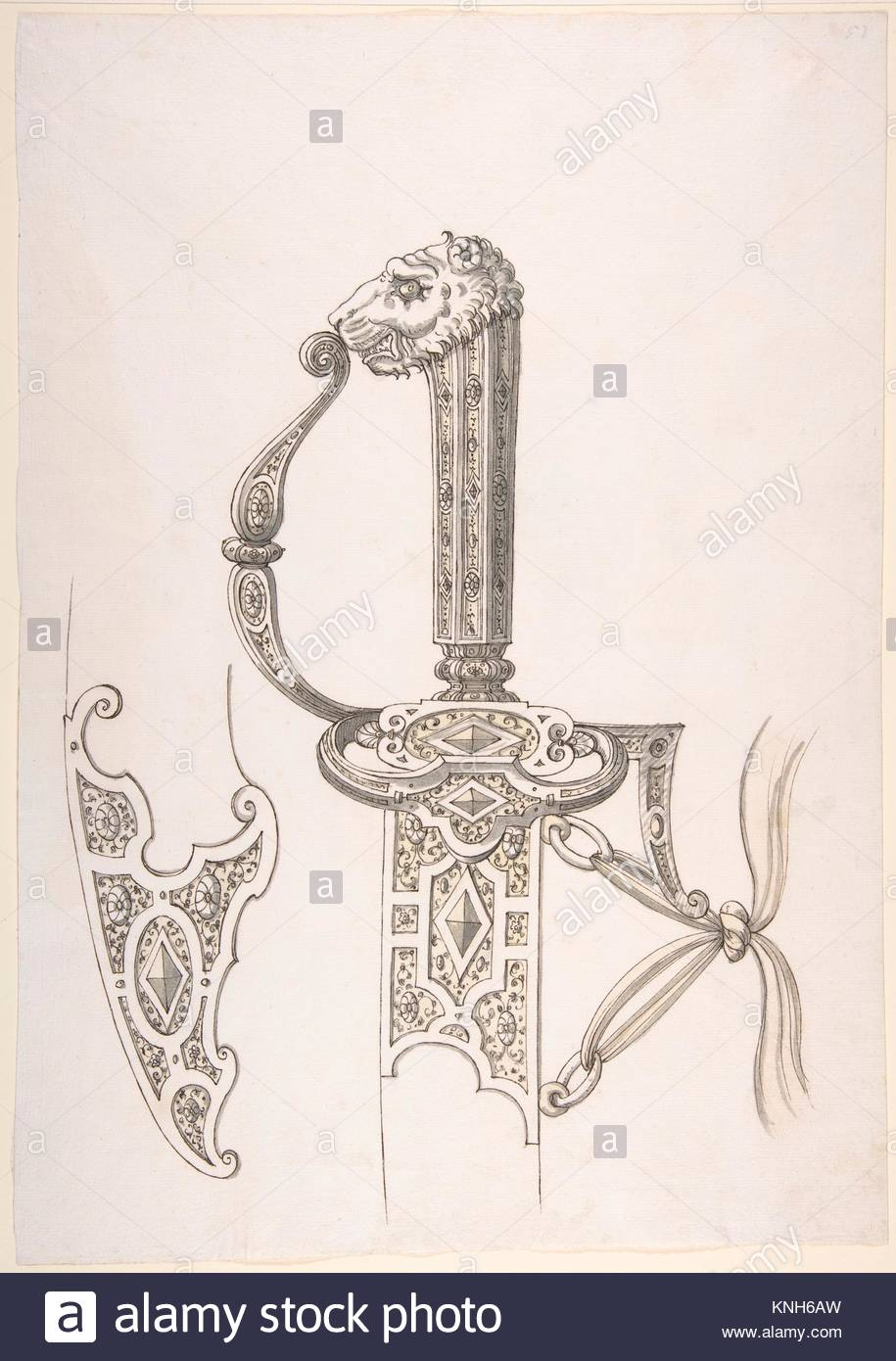 915x1390 Drawing Of Design For Sword Hilt And Tip Of Scabbard (Lion Head
