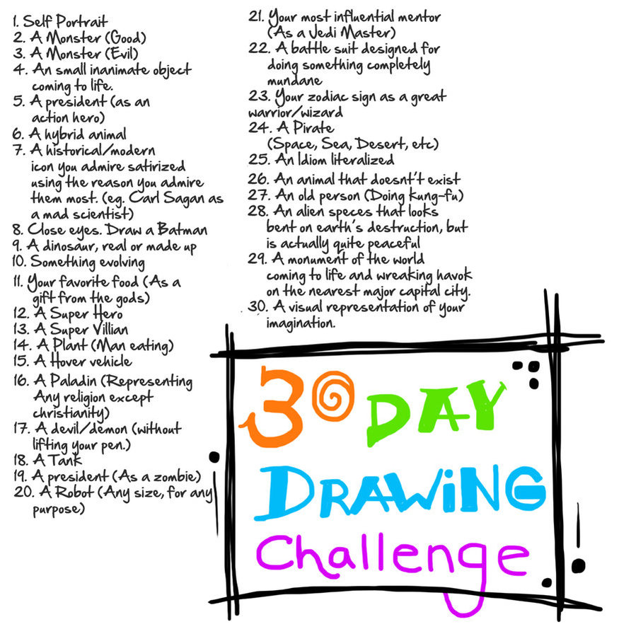 899x889 30 Day Drawing Challenge By G Townsend