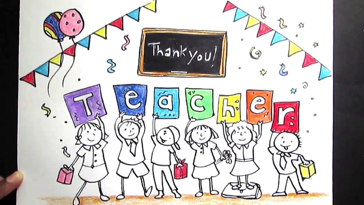 1280x720 Creative Drawing (Happy Teacher's Day) For Kids Teacher's Day