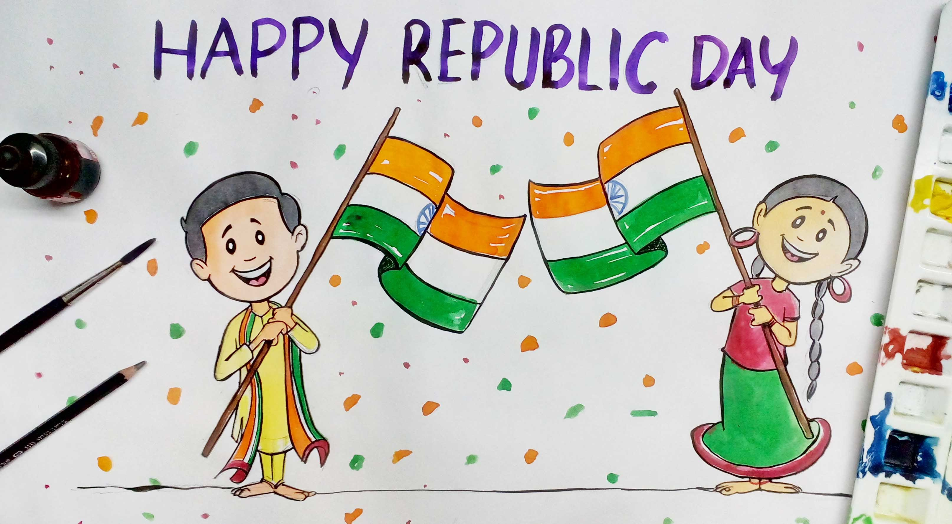 3228x1779 Happy Republic Day Colour Drawing.