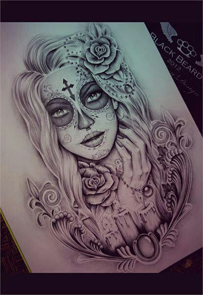 414x600 Beautiful Day Of The Dead Girl Tattoo Drawing Tattoos
