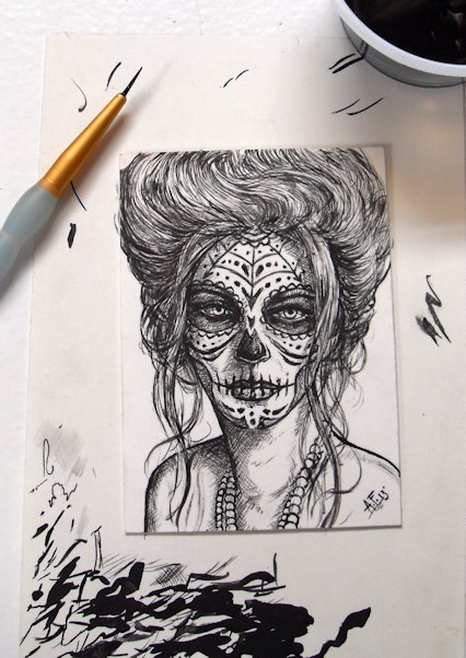 426x602 Day Of The Dead Girl Orig. Aceo Sketch Card Inked By