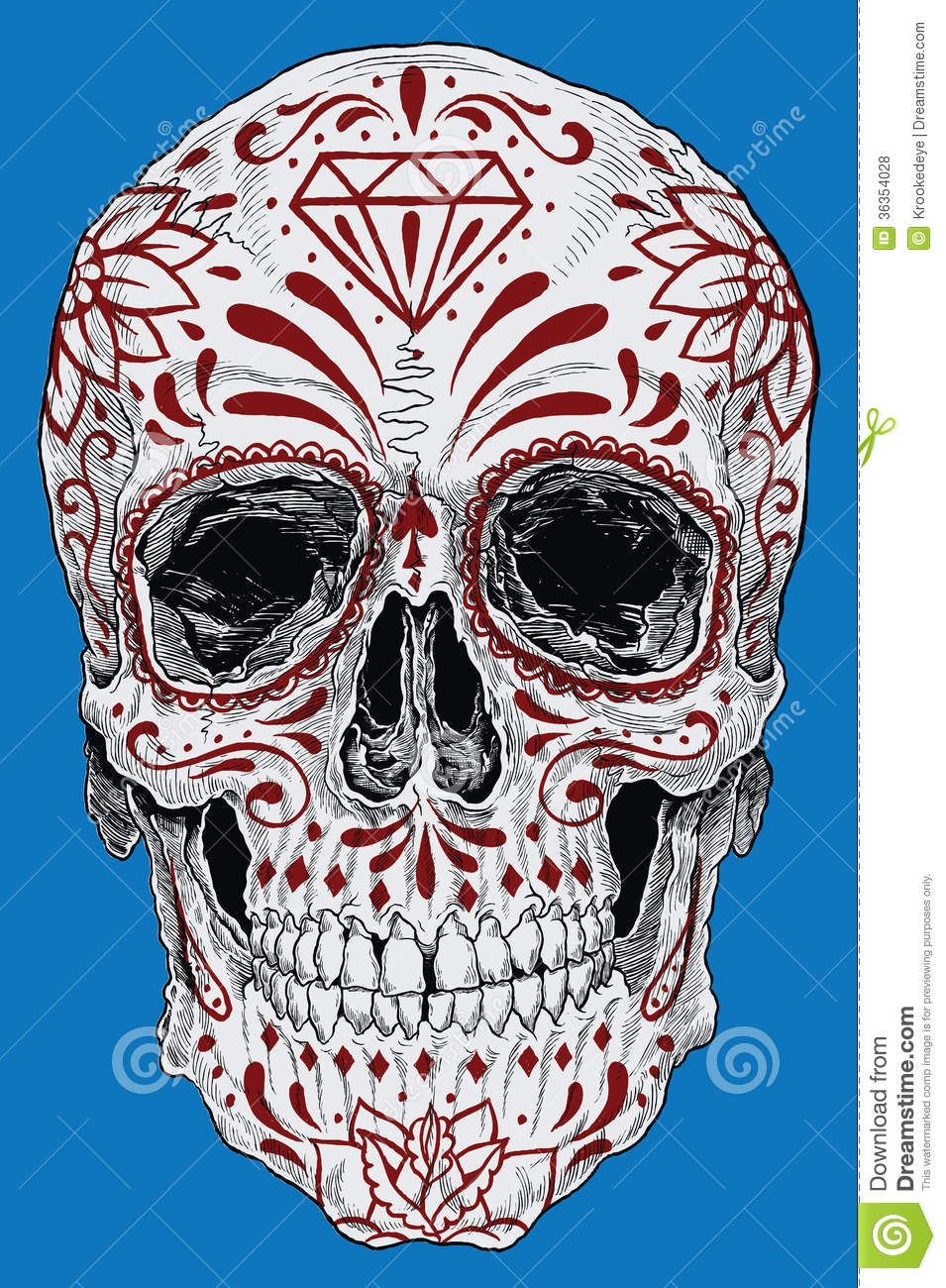 955x1300 Realistic Day Of The Dead Sugar Skull Royalty Free Stock Photos