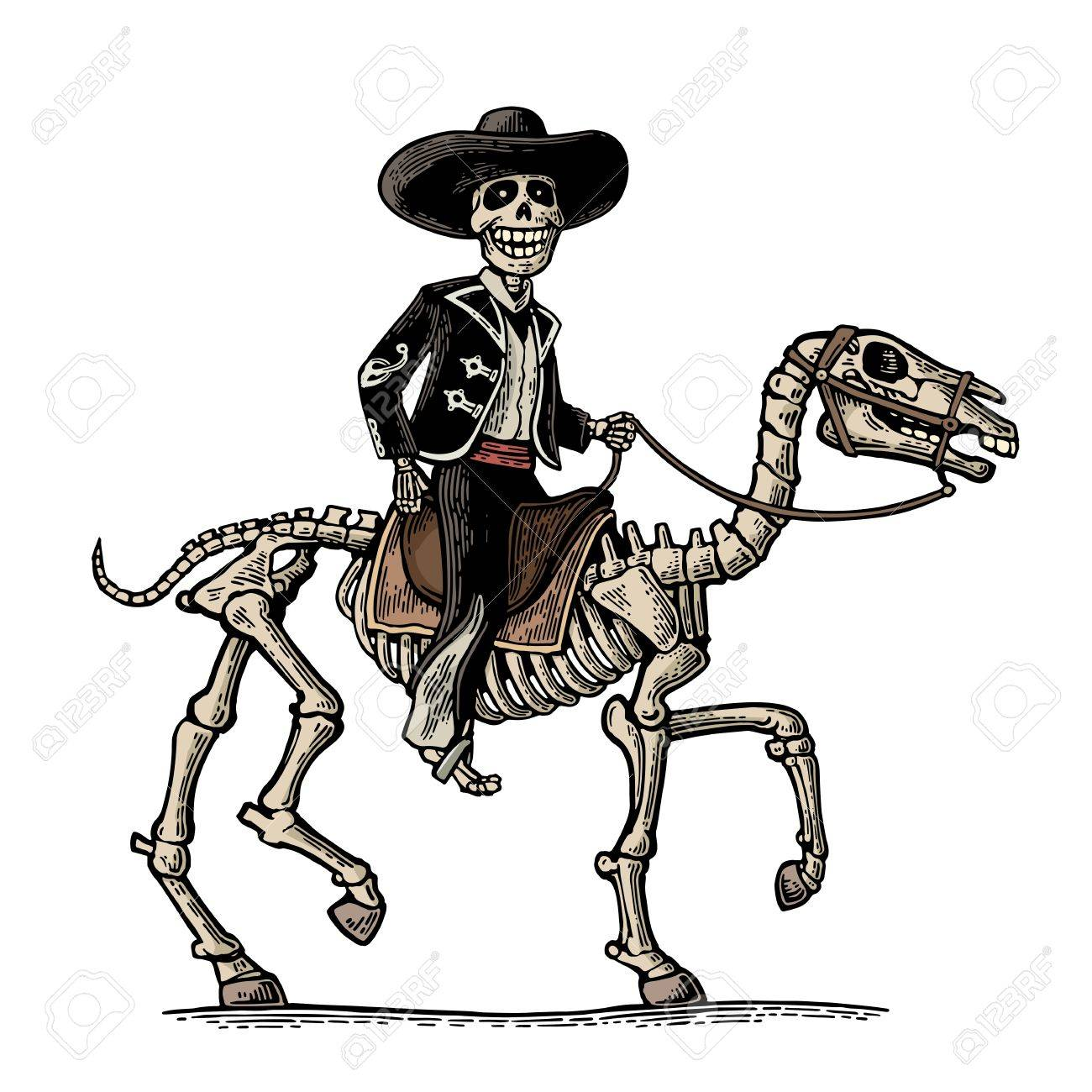 1300x1300 Rider In The Mexican Man National Costumes Galloping On Skeleton