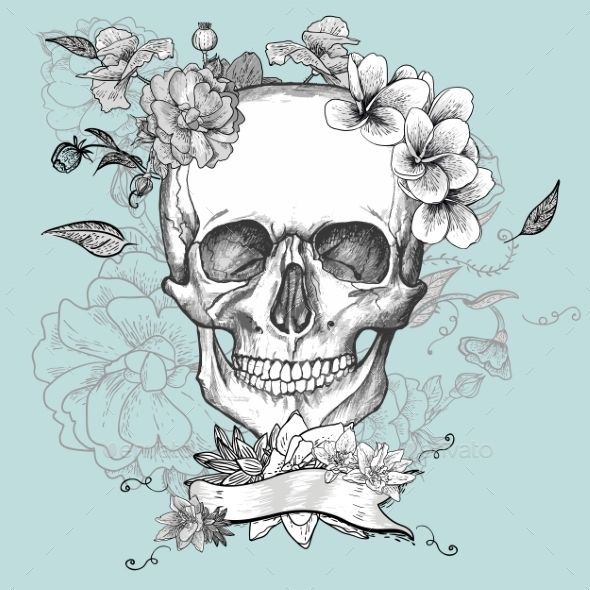 590x590 Skull And Flowers Day Of The Dead Mexican Pattern, Tattoo