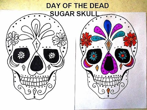 480x360 Day Of The Dead, Sugar Skulls, Free Download Coloring Page, Diy