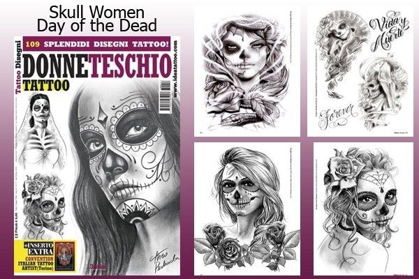 600x400 Day Of The Dead Skull Women Tattoo Flash Design Book 66 Pages