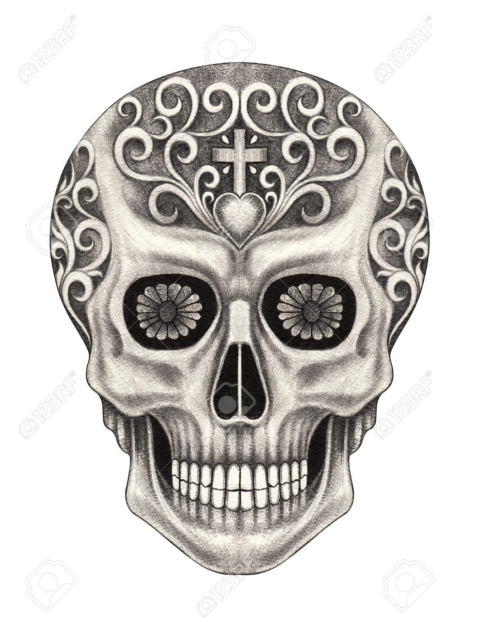 986x1300 Head Skull Art Day Of The Dead Festival. Hand Pencil Drawing