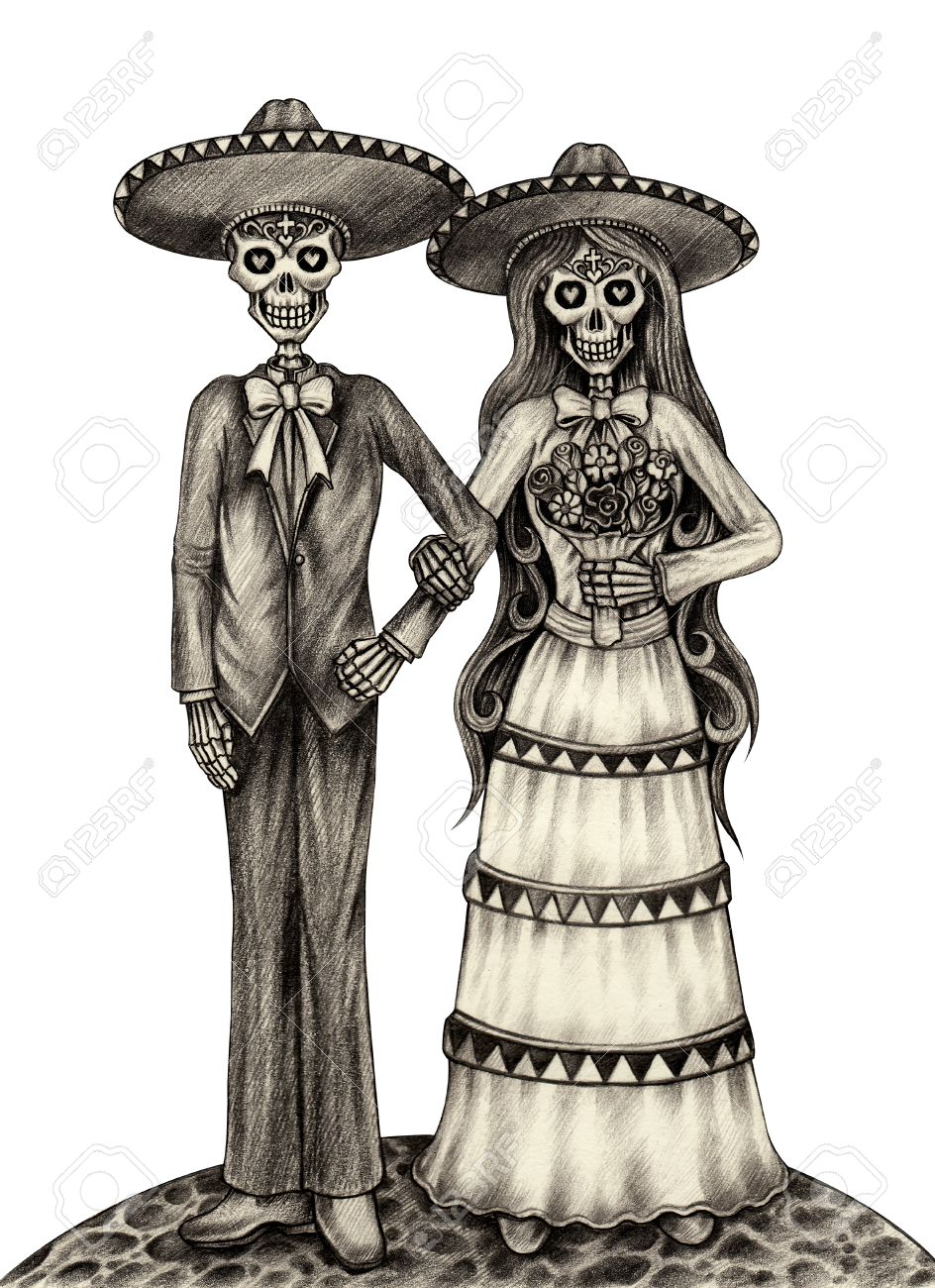 944x1300 Skull Art Wedding Day Of The Dead Festival.hand Pencil Drawing