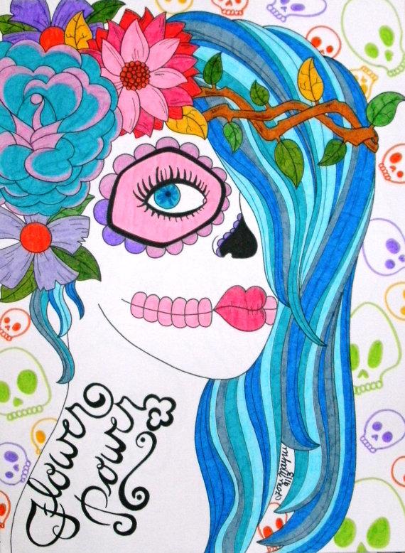 570x778 Sugar Skull Girl Day Of The Dead Art 9x12 Inch Drawing Dia