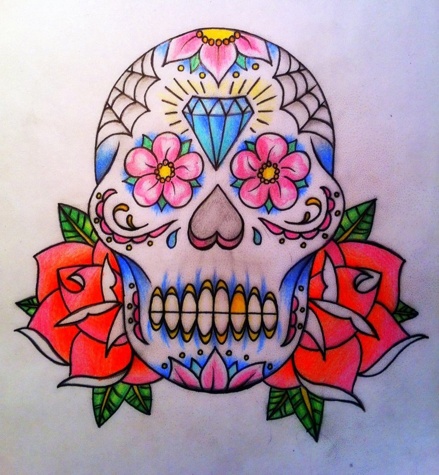 859x929 Day Of The Dead Skull, Sugar Skull By Calebslabzzzgraham