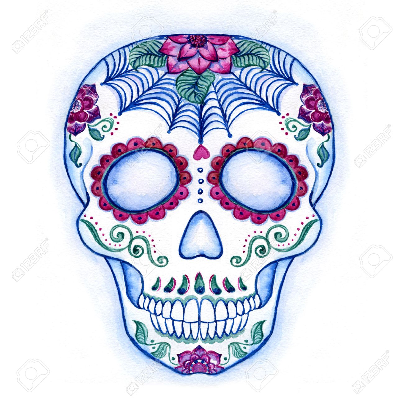 1300x1300 Day Of The Dead Colorful Skull With Floral Ornament. Sugar Skull