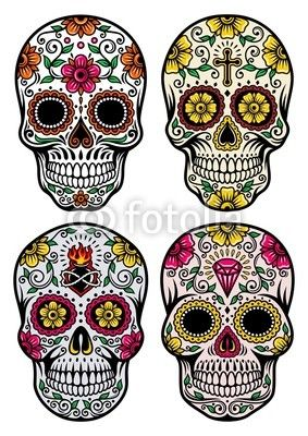 283x400 Day Of The Dead Skull Vector Set Wall Mural We Live