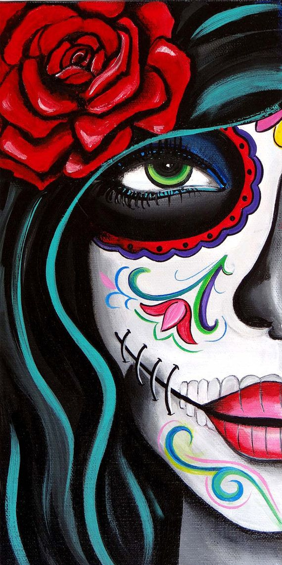 570x1140 Green Eyes Day Of The Dead Art By Melody Smith By Urbanartbymelody