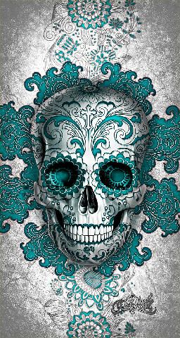 256x480 How Cool Is This!! Sugar Skull, Day Of The Dead, Skull, Blue