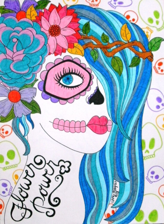 1099x1500 Sugar Skull Girl, Day Of The Dead Art, 9x12 Inch Drawing, Dia De