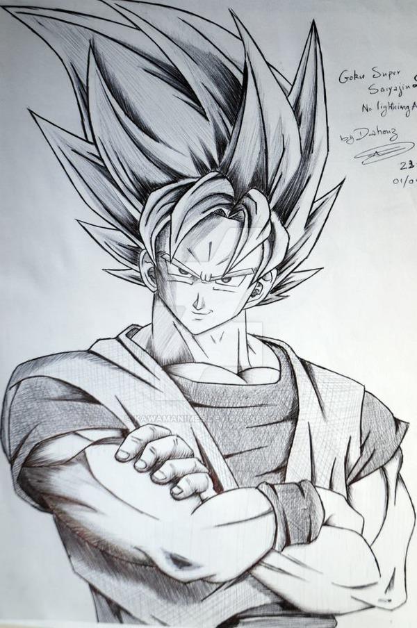 600x904 Goku Super Saiyan 2 Without Lightning Aura By Kawamanimes