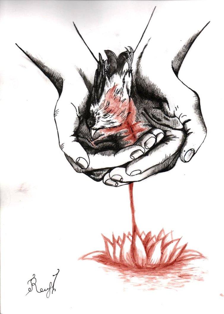 755x1057 Dead Bird In Hand By Raccoon Psychopath