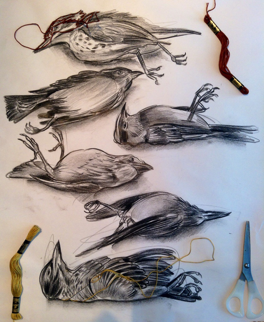 842x1024 Presale On My Etsy Site Embroidered Drawing Dead Bird Series 1