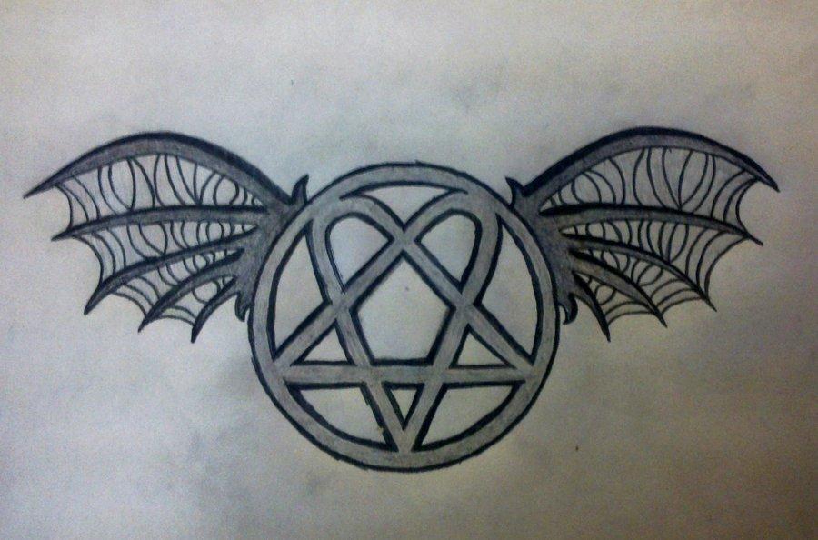 900x594 Heartagram With Death Bat Wings Tattoo Design By Davidevz