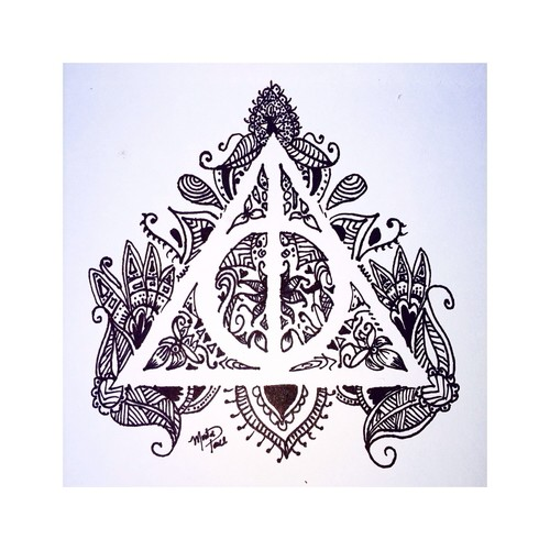 500x500 Black And White, Draw, Harry Potter, The Deathly Hallows
