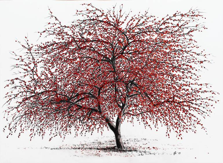 770x565 Saatchi Art Study Of A Choke Cherry Tree Drawing By Glenn Boyles