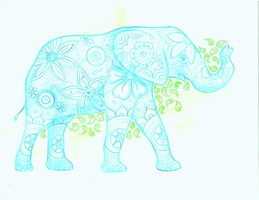900x695 Decorated Elephant Drawing By Emily Page