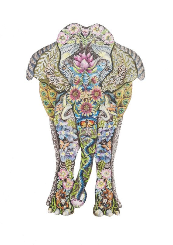 570x806 Decorative Indian Elephant Fine Art Giclee Print Indian Elephant