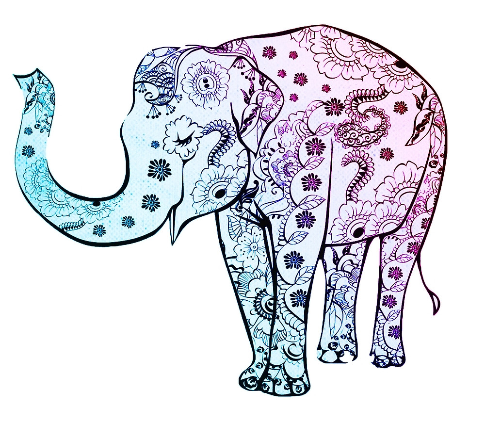 1000x872 Decorative Elephant Drawing By Mosfunky Redbubble