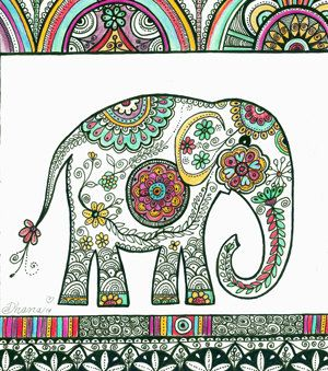 300x339 Elephant Drawing Home Decor, Indian Folk Drawing, Decorative