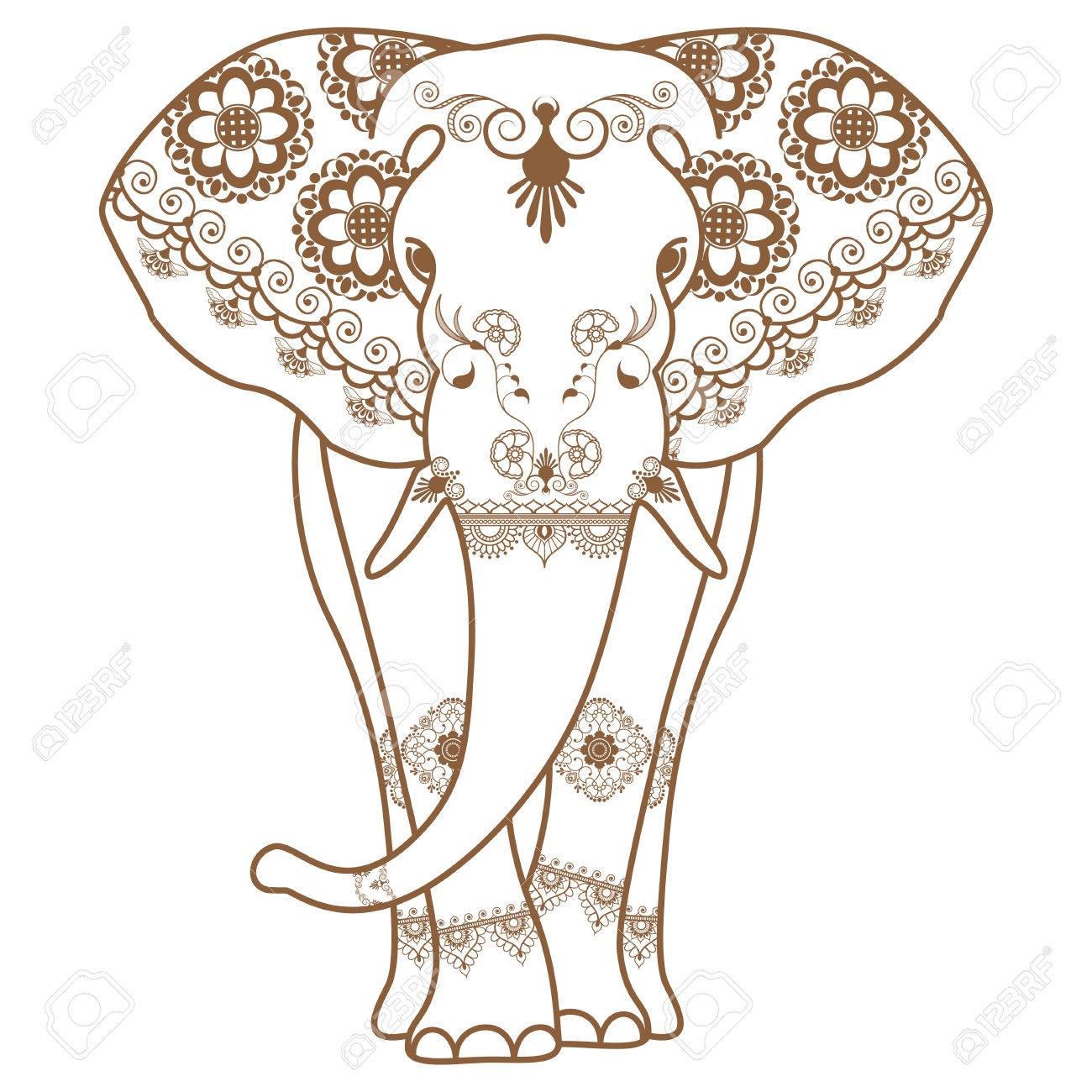 1300x1300 Mehndi Tattoo Brown Henna Elephant Decorated In Indian Style