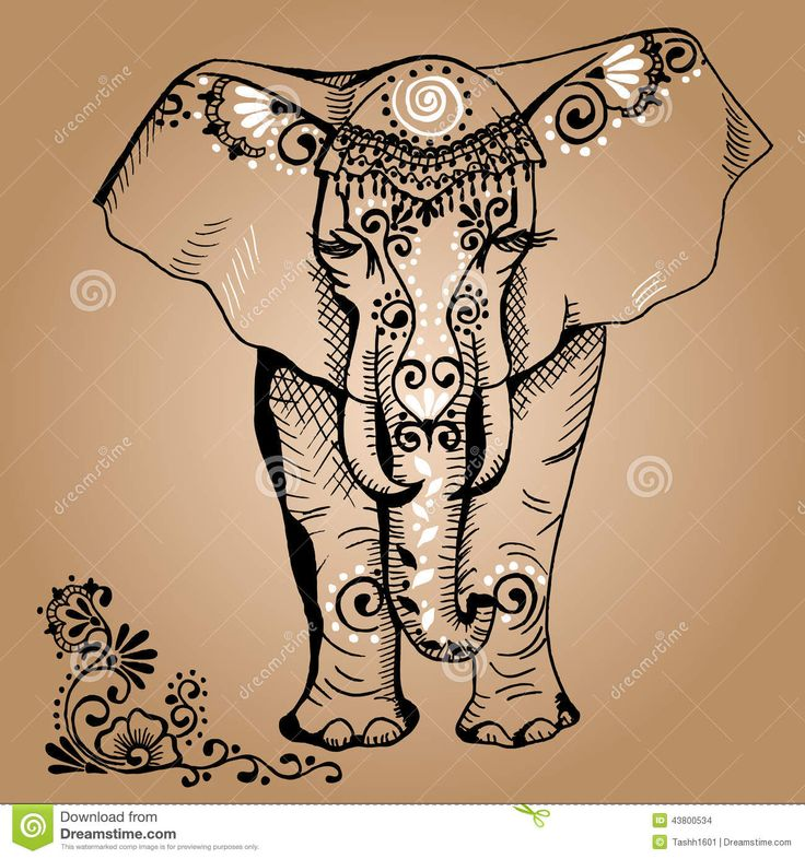 736x786 Decorated Elephant Drawing