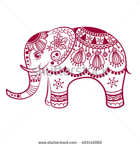 450x470 Indian Elephant Outline