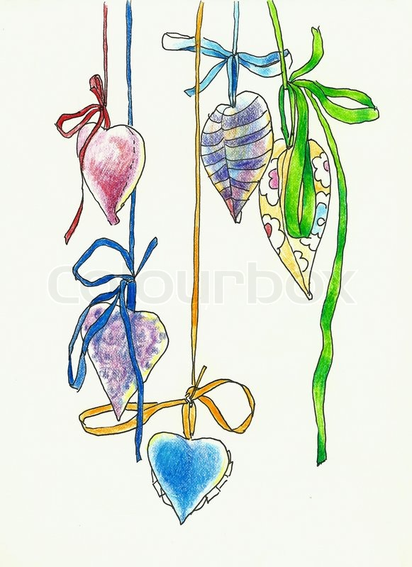 581x800 Hanging Hearts Shape Decoration Drawing Stock Photo Colourbox