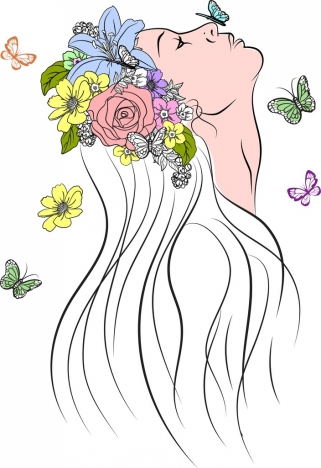 321x468 Woman Drawing Colorful Flowers Butterflies Decoration Vectors