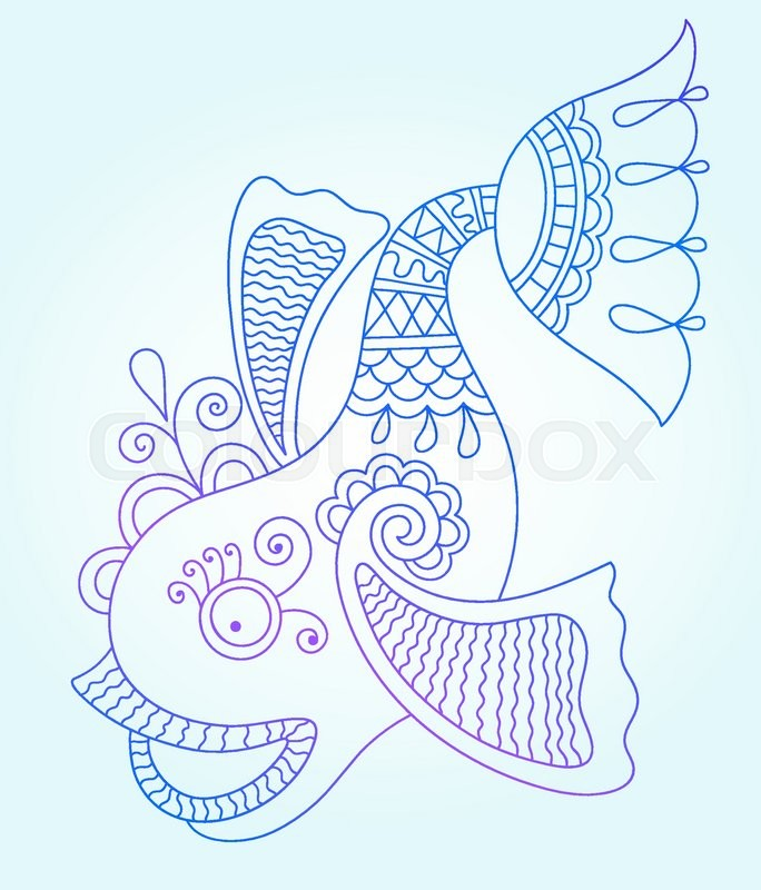 684x800 Blue Line Drawing Of Sea Monster, Underwater Decorative Fish