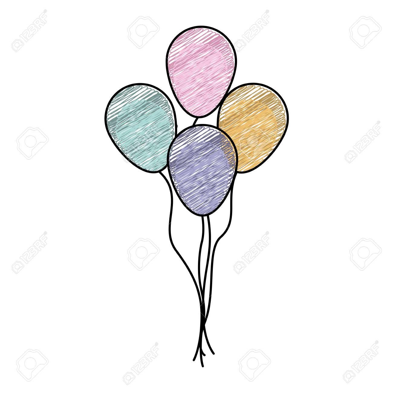 1300x1300 Color Pencil Drawing Of Set Decorative Balloons Vector