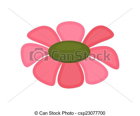 450x373 Pink Flower Drawing. Decorative Pink Valentine Flower Vector