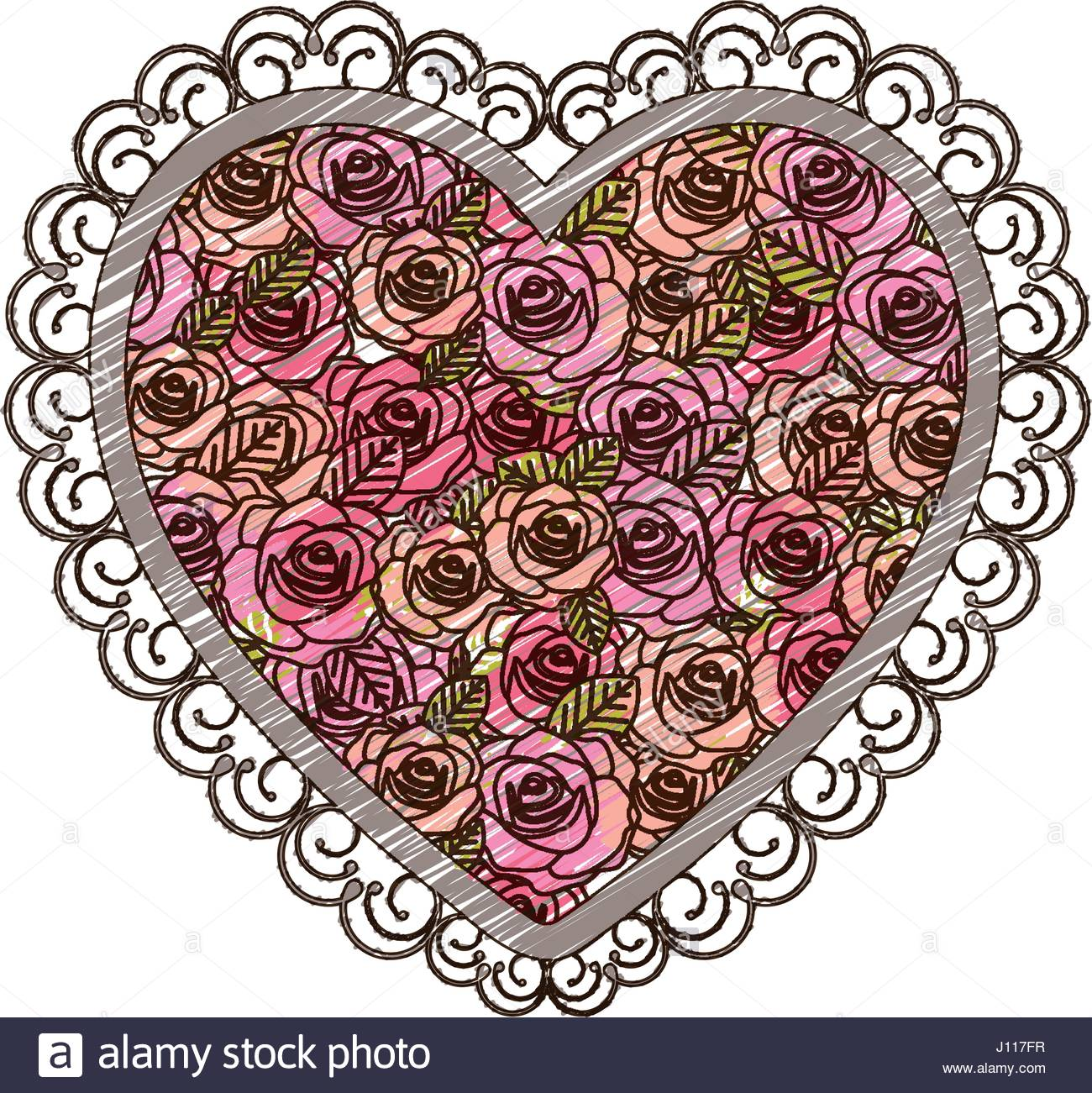 1300x1301 Color Pencil Drawing Heart With Decorative Frame And Pattern