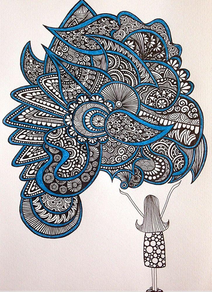 726x1000 The Girl By Alevaki Zentangle Zendoodle Mandala Lineart Doodleart