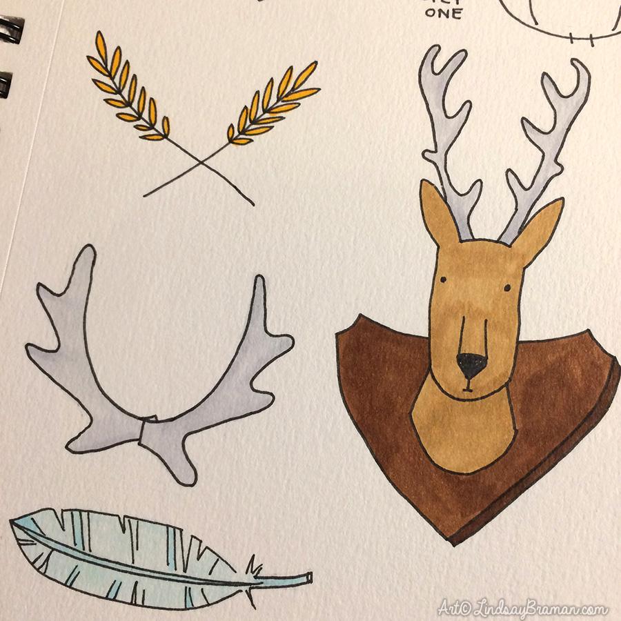 900x900 Deer Antler Drawing How To Draw Antler Laurels In 4 Easy Steps