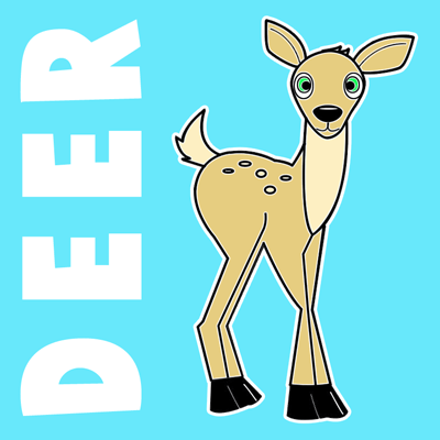 400x400 How To Draw Cartoon Baby Deer With Step By Step Drawing Lesson